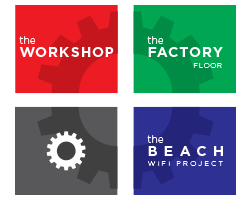 Group logo for The Workshop, The Factory Floor and The Beach WiFi Project by Kit and Caboodle
