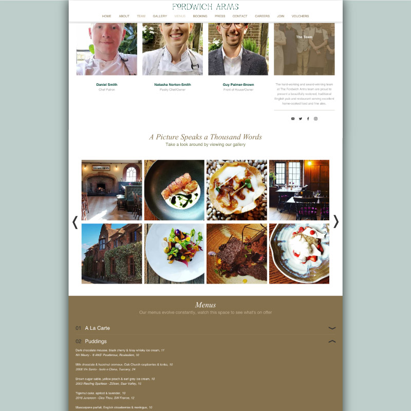 Fordwich Arms website menus